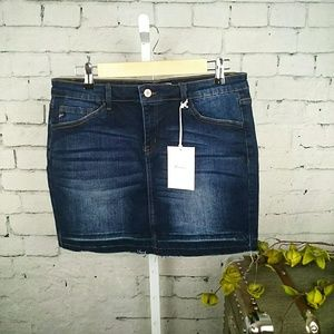 NWT KanCan distressed denim mini skirt w/ stretch
